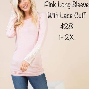 Tops - Pink Top with Lace Cuff